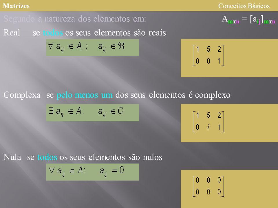 Segundo a natureza dos elementos em: Amxn = [aij]mxn